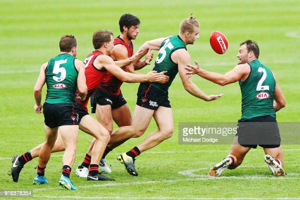 Jake Stringer competes for the ball next to Tom Bellchambers during the Essendon Bombers AFL IntraClub Match at The Hangar on February 10 2018 in...