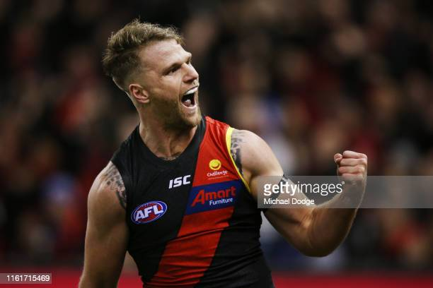 Jake Stringer of Essendon celebrates a goal during the round 17 AFL match between the Essendon Bombers and the North Melbourne Kangaroos at Marvel...