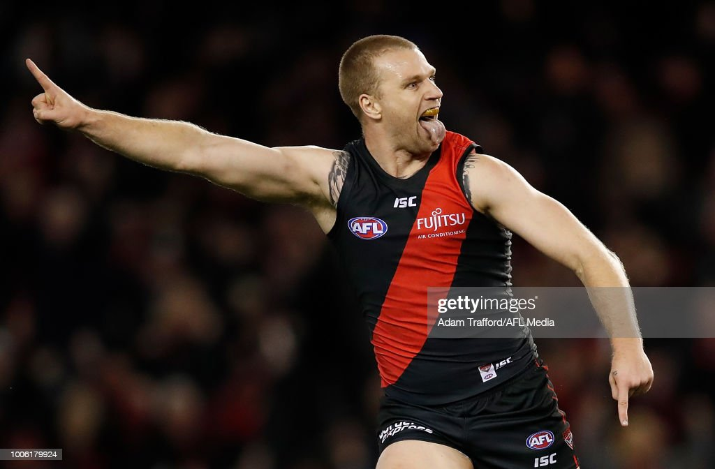 Jake Stringer of the Bombers celebrates a goal during the 2018 AFL round 19 match between the Essendon Bombers and the Sydney Swans at Etihad Stadium on July 27, 2018 in Melbourne, Australia.