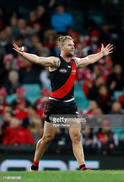 Jake Stringer of the Bombers celebrates a goal during the round eight AFL match between the Sydney Swans and the Essendon Bombers at the Sydney...