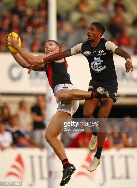 Jake Stringer of the Bombers marks the ball during the 2019 JLT Community Series AFL match between the Carlton Blues and the Essendon Bombers at Ikon...