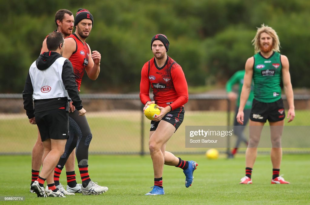 Jake Stringer of the Bombers runs with the ball during an Essendon Bombers AFL training session at The Hangar on May 16, 2018 in Melbourne, Australia.