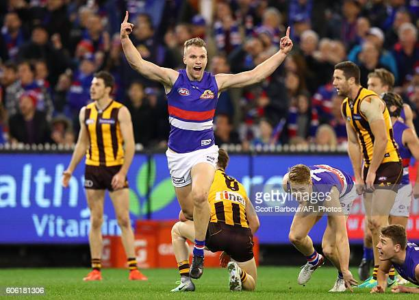 Jake Stringer of the Bulldogs celebrates after kicking a goal during the second AFL semi final between Hawthorn Hawks and Western Bulldogs at...