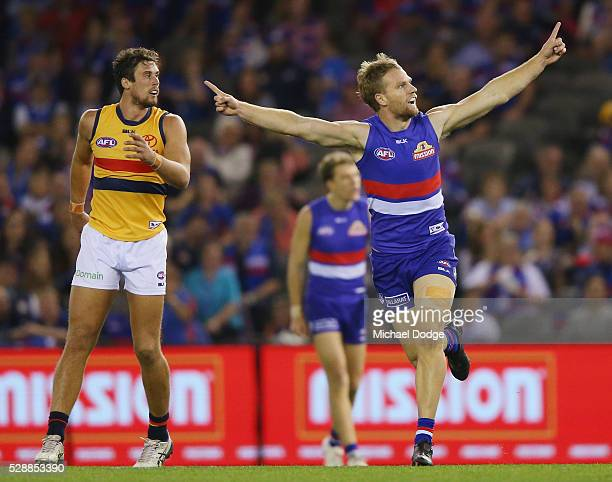 Jake Stringer of the Bulldogs during the round seven AFL match between the Western Bulldogs and the Adelaide Crows at Etihad Stadium on May 7 2016 in...