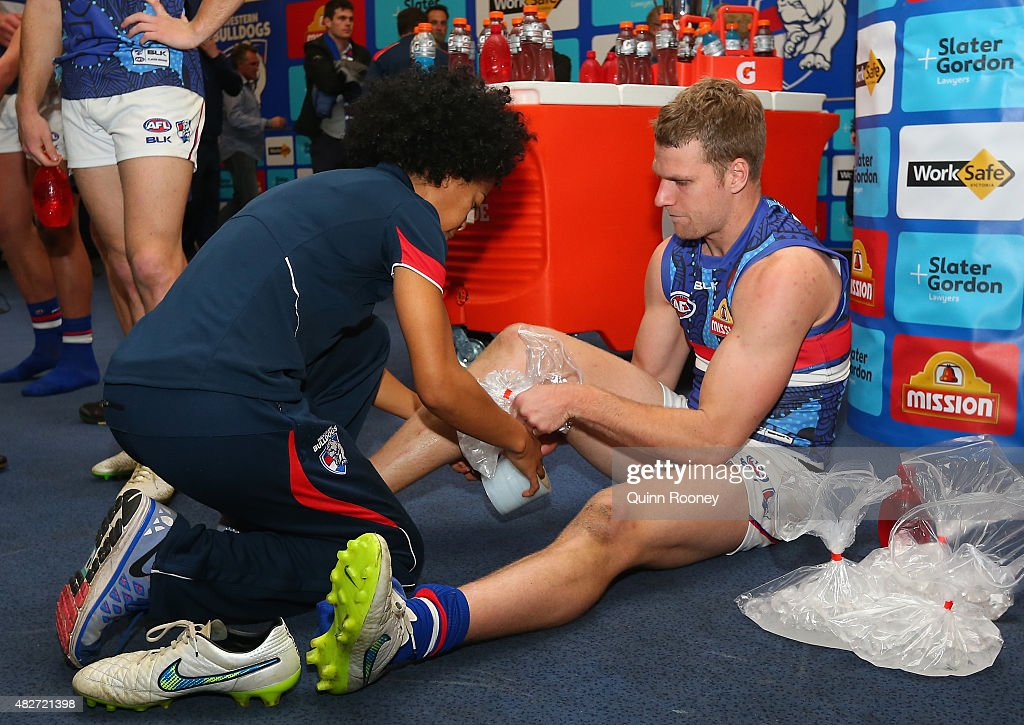 Jake Stringer of the Bulldogs ices up after the game during the round 18 AFL match between the Essendon Bombers and the Western Bulldogs at Etihad Stadium on August 2, 2015 in Melbourne, Australia.