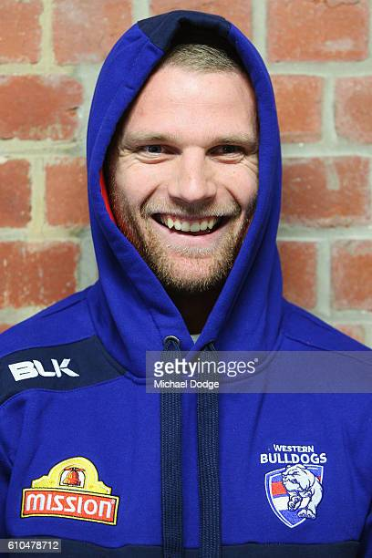 Jake Stringer of the Bulldogs poses during a Western Bulldogs AFL media opportunity at Whitten Oval on September 26 2016 in Melbourne Australia