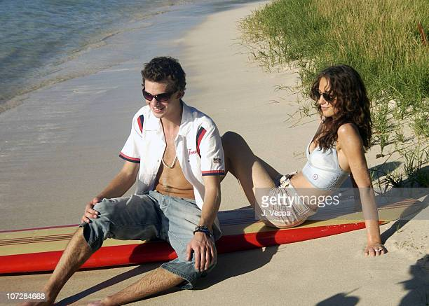 Jake Sumner and Lizzy Jagger during Tommy Jeans Photo Shoot in Mustique in Mustique Bahamas