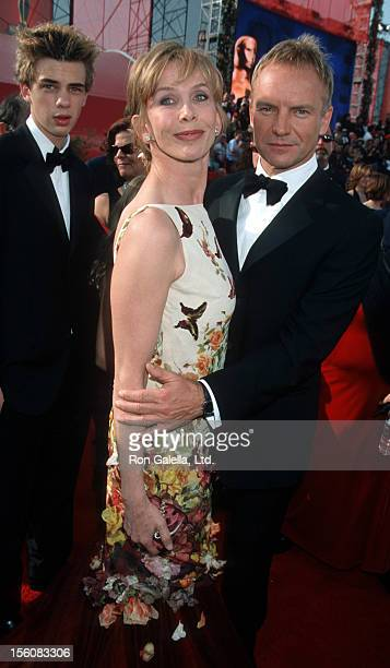 Jake Sumner Trudie Styler and Sting during The 73rd Annual Academy Awards Arrivals at Shrine Auditorium in Los Angeles California United States