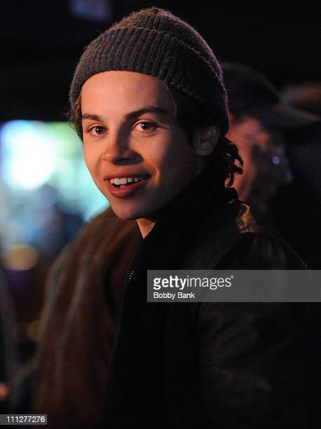 Jake T Austin filming on location for New Years Eve in Manhattan on March 30 2011 in New York City
