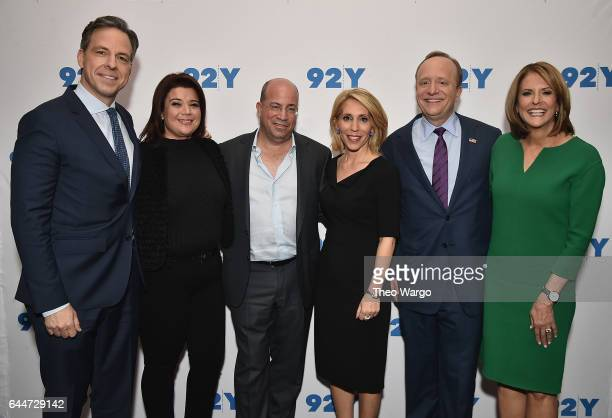 Jake Tapper Ana Navarro Jeff Zucker Dana Bash Paul Begala and Gloria Borger attend 'A Conversation with CNN' at 92nd Street Y on February 23 2017 in...
