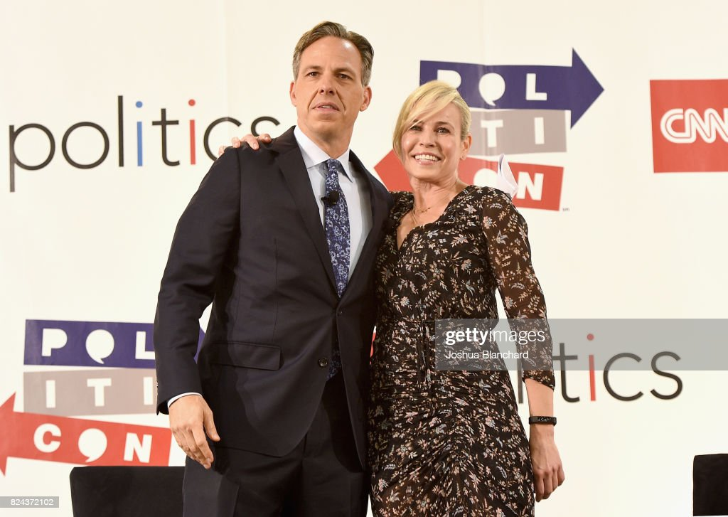 Jake Tapper (L) and Chelsea Handler at the 'CNN: Politics on Tap: Special Edition' panel during Politicon at Pasadena Convention Center on July 29, 2017 in Pasadena, California.