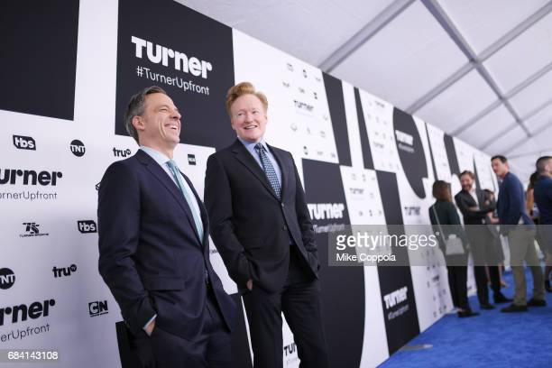Jake Tapper and Conan O'Brien attend the Turner Upfront 2017 arrivals on the red carpet at The Theater at Madison Square Garden on May 17 2017 in New...