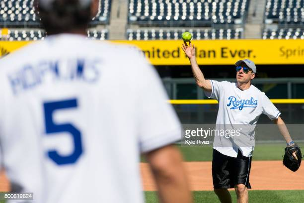 Jake Tapper and Josh Hopkins play catch during the Big Slick Celebrity Weekend benefitting Children's Mercy Hospital of Kansas City on June 23 2017...