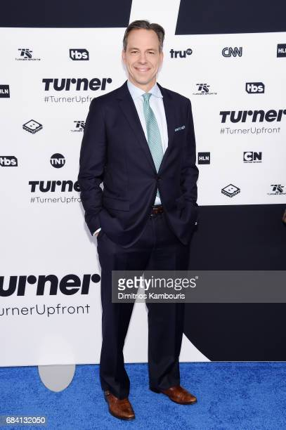 Jake Tapper attends the Turner Upfront 2017 arrivals on the red carpet at The Theater at Madison Square Garden on May 17 2017 in New York City...