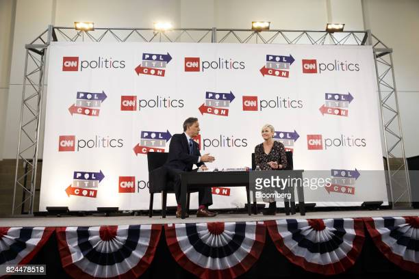 Jake Tapper chief Washington correspondent for CNN left and comedian Chelsea Handler speak during the Politicon convention inside the Pasadena...