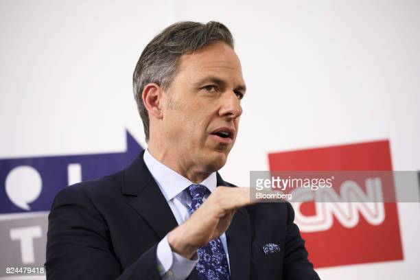 Jake Tapper chief Washington correspondent for CNN speaks with comedian Chelsea Handler not pictured during the Politicon convention inside the...