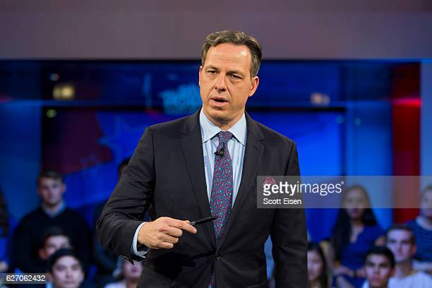 Jake Tapper of CNN's State of the Union speaks to a crowd at the Harvard Institute of Politics Forum before Trump Campaign Manager Kellyanne Conway...