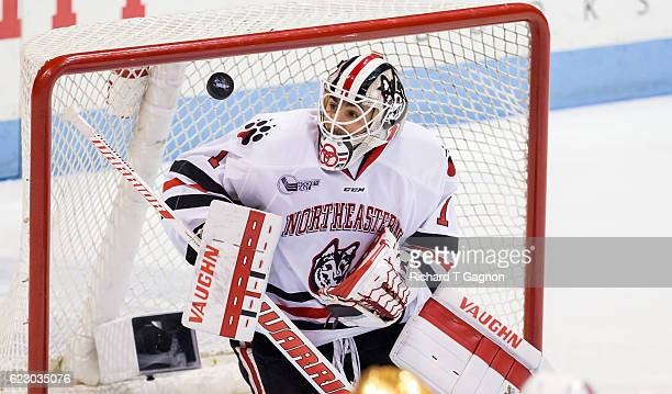 Jake Theut of the Northeastern Huskies makes a save against the Notre Dame Fighting Irish during NCAA hockey at Matthews Arena on November 13 2016 in...