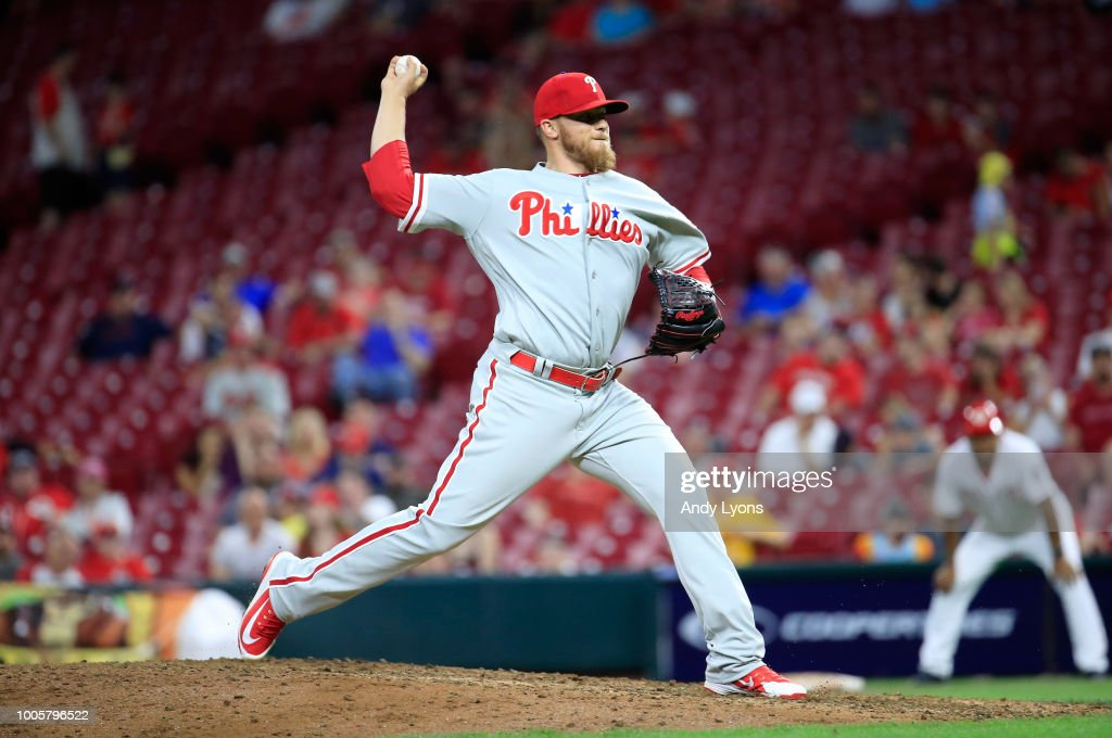 Jake Thompson #44 of the Philadelphia Phillies throws a pitch in the 9th inning against the Cincinnati Reds at Great American Ball Park on July 26, 2018 in Cincinnati, Ohio.