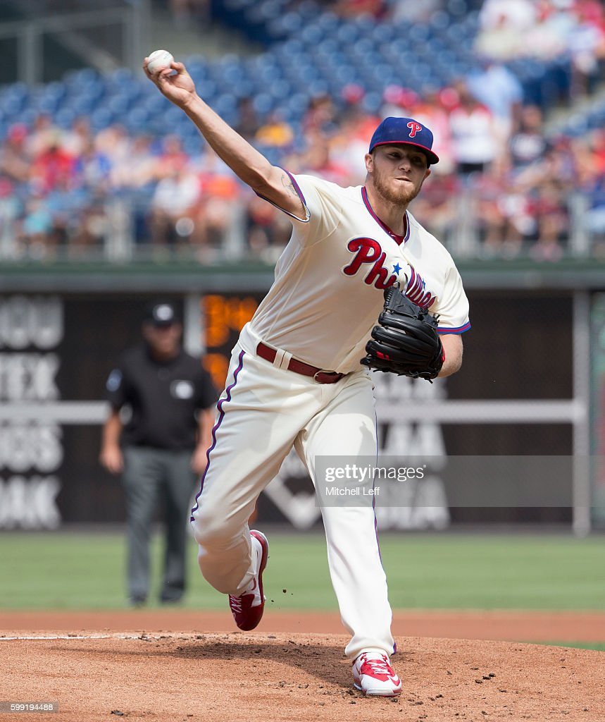 Jake Thompson #44 of the Philadelphia Phillies throws a pitch in the top of the first inning against the Atlanta Braves at Citizens Bank Park on September 4, 2016 in Philadelphia, Pennsylvania.