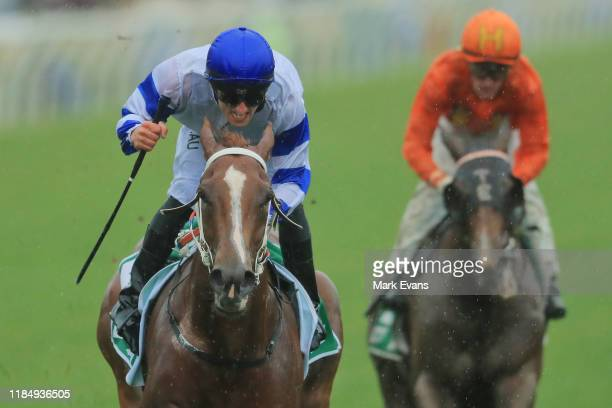 Jake Toeroek on Kemalpasa wins race 1 the TAB Stakes during 2019 Derby Day at Flemington Racecourse on November 02 2019 in Melbourne Australia