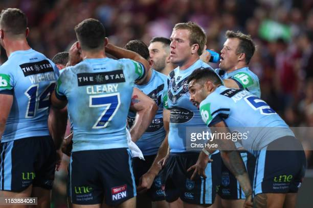 Jake Trbojevic and the Blues look on after a Maroons try during game one of the 2019 State of Origin series between the Queensland Maroons and the...