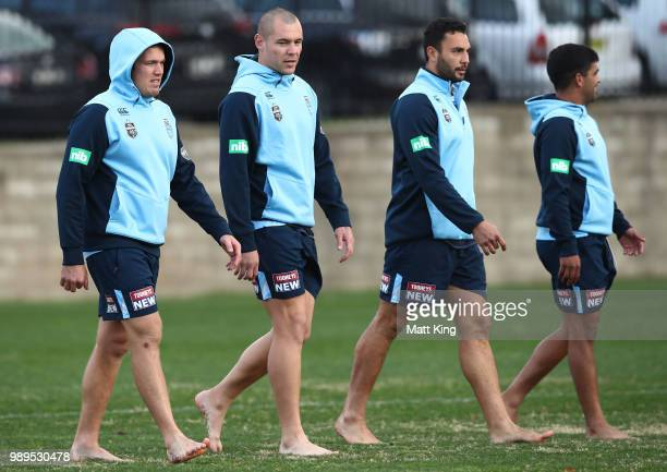 Jake Trbojevic David Klemmer Ryan James and Tyrone Peachey take part in a drill in bare feet during a New South Wales Blues State of Origin Recovery...