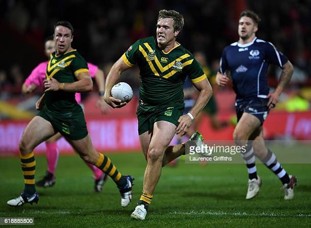 Jake Trbojevic of Australia powers his way to a second half try during the Four Nations match between the Australian Kangaroos and Scotland at KCOM...