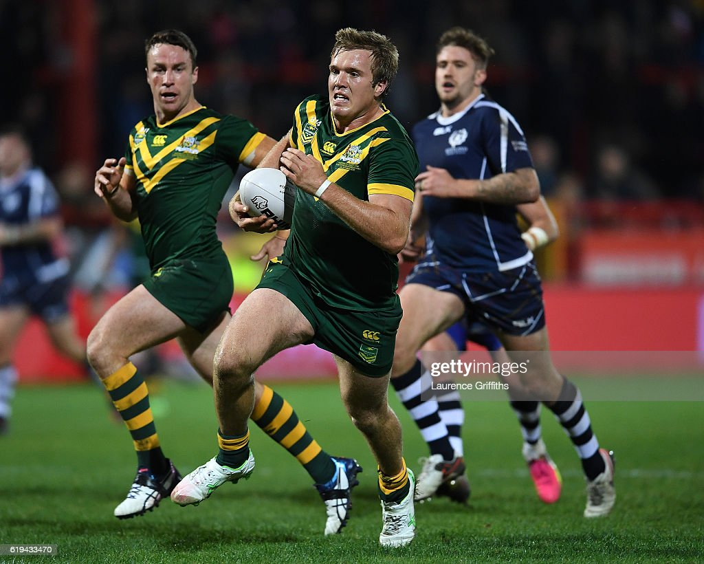 Jake Trbojevic of Australia powers his way to a second half try during the Four Nations match between the Australian Kangaroos and Scotland at KCOM Lightstream Stadium on October 28, 2016 in Hull, United Kingdom.