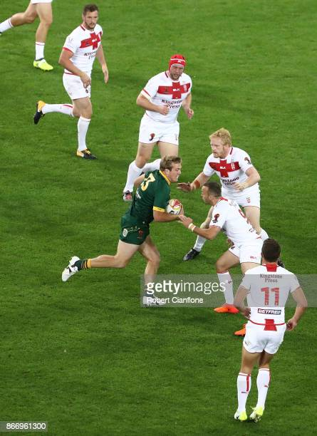 Jake Trbojevic of Australia runs with the ball during the 2017 Rugby League World Cup match between the Australian Kangaroos and England at AAMI Park...