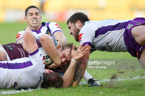 Jake Trbojevic of Manly scores a try during the round seven NRL match between the Manly Sea Eagles and the Melbourne Storm at Lottoland on April 15...