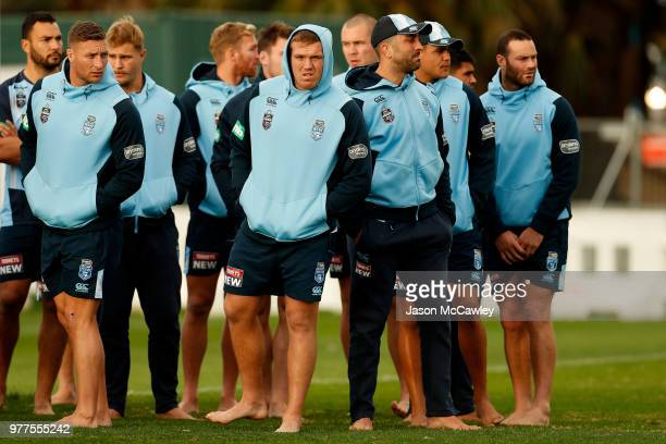 Jake Trbojevic of the Blues looks on during a New South Wales Blues State of Origin recovery session at Coogee Oval on June 18 2018 in Sydney...