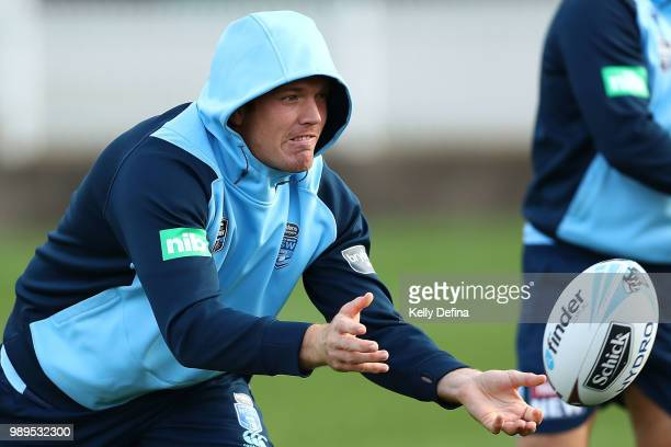 Jake Trbojevic of the Blues passes the ball during a New South Wales Blues State of Origin Recovery Session at Coogee Oval on July 2 2018 in Sydney...