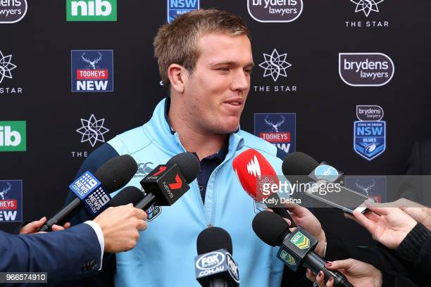 Jake Trbojevic of the Blues speaks to media during a New South Wales Blues State of Origin Media Opportunity at Luna Park on June 3 2018 in Melbourne...