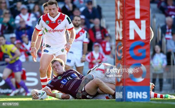 Jake Trbojevic of the Eagles scores a try during the round 20 NRL match between the St George Illawarra Dragons and the Manly Sea Eagles at WIN...