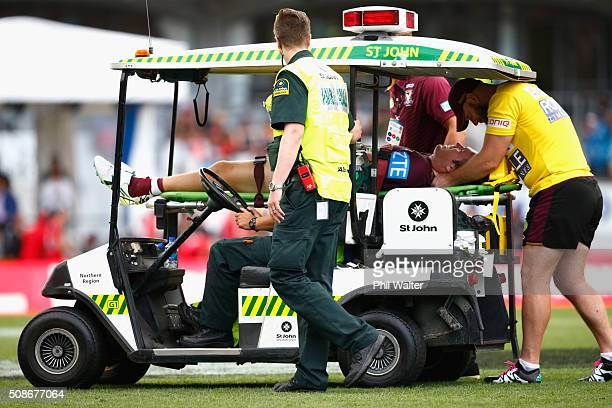 Jake Trbojevic of the Manly Sea Eagles is taken off the field on a stretcher following a tackle from Konrad Hurrell of the Warriors during the 2016...