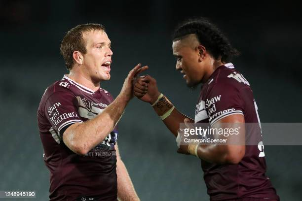 Jake Trbojevic of the Sea Eagles and Moses Suli of the Sea Eagles celebrate winning the round five NRL match between the Manly Sea Eagles and the...