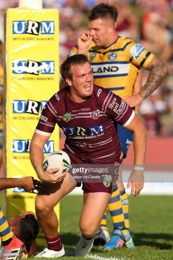 Jake Trbojevic of the Sea Eagles celebrates scoring a try during the round two NRL match between the Manly Sea Eagles and the Parramatta Eels at Lottoland on March 18, 2018 in Sydney, Australia.