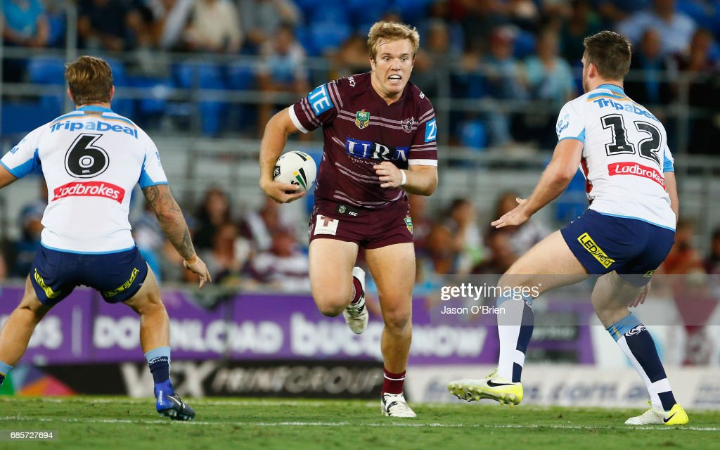 Jake Trbojevic of the Sea Eagles in action during the round 11 NRL match between the Gold Coast Titans and the Manly Sea Eagles at Cbus Super Stadium on May 20, 2017 in Gold Coast, Australia.