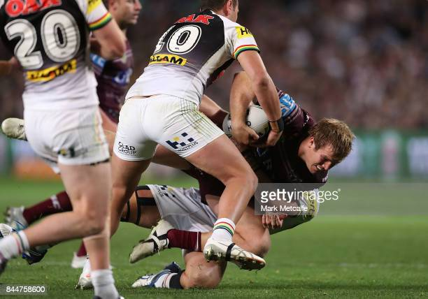 Jake Trbojevic of the Sea Eagles is tackled during the NRL Elimination Final match between the Manly Sea Eagles and the Penrith Panthers at Allianz...