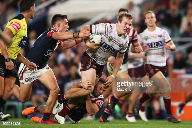 Jake Trbojevic of the Sea Eagles makes a break during the round nine NRL match between the Sydney Roosters and the Manly Warringah Sea Eagles at...
