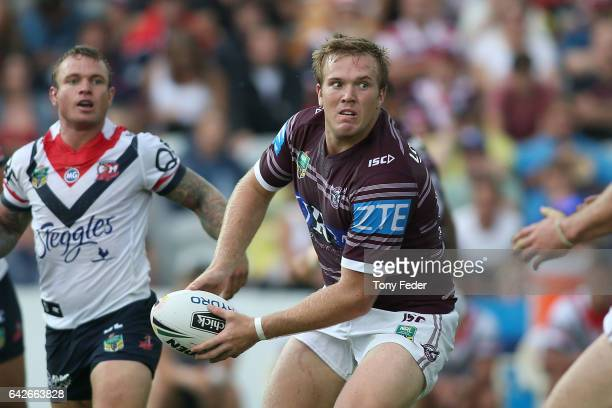 Jake Trbojevic of the Sea Eagles passes the ball during the NRL Trial match between the Manly Warringah Sea Eagles and Sydney Roosters at Central...