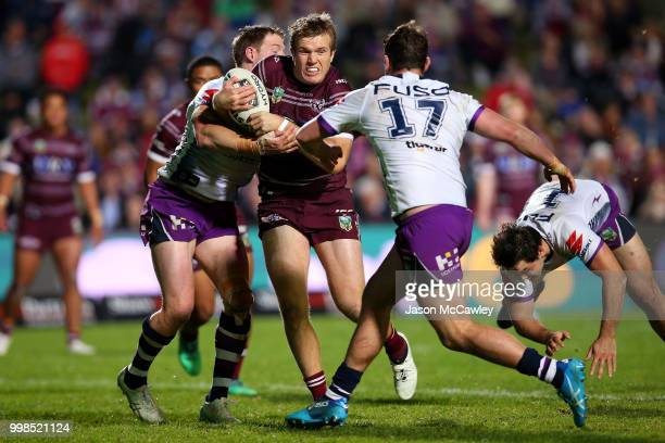 Jake Trbojevic of the Sea Eagles runs the ball during the round 18 NRL match between the Manly Sea Eagles and the Melbourne Storm at Lottoland on...