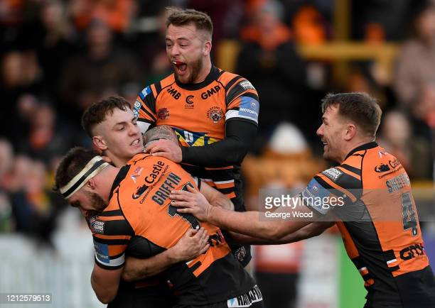 Jake Trueman of Castleford celebrates after scoring a try during the Betfred Super League match between Castleford Tigers and St Helens at The Jungle...