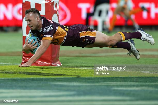 Jake Turpin of the Broncos crosses for a try during Day 1 of the 2020 NRL Nines match between The Broncos and the Cowboys at HBF Park on February 14,...