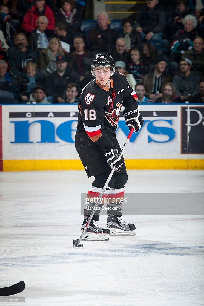 Jake Virtanen #18 of Calgary Hitmen skates with the puck against the Kelowna Rockets on February 28, 2015 at Prospera Place in Kelowna, British Columbia, Canada.