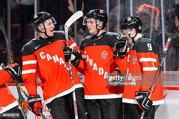 Jake Virtanen of Team Canada celebrates his goal with teammates during the 2015 IIHF World Junior Hockey Championship game against Team Slovakia at...
