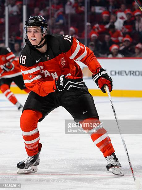 Jake Virtanen of Team Canada skates during the 2015 IIHF World Junior Hockey Championship game against Team Slovakia at the Bell Centre on December...