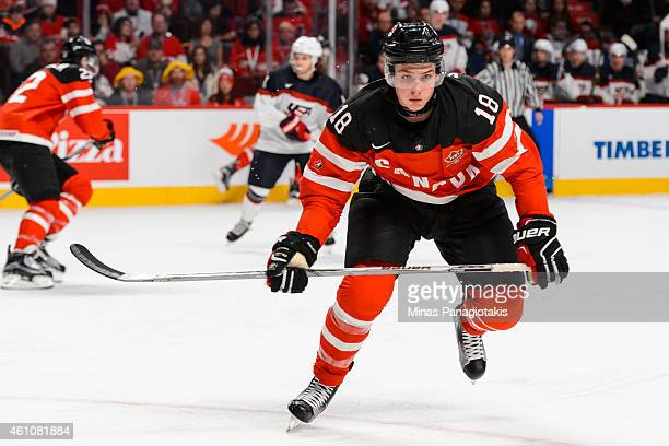 Jake Virtanen of Team Canada skates in a preliminary round game during the 2015 IIHF World Junior Hockey Championships against Team United States at...