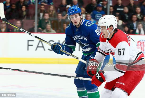 Jake Virtanen of the Vancouver Canucks and Trevor van Riemsdyk of the Carolina Hurricanes skate up ice during their NHL game at Rogers Arena December...